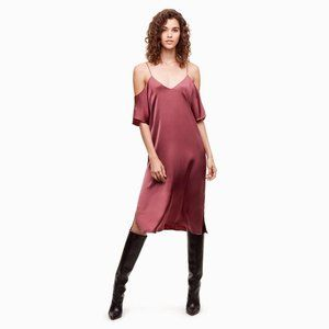 Wilfred Harrietta satin off-shoulder midi dress